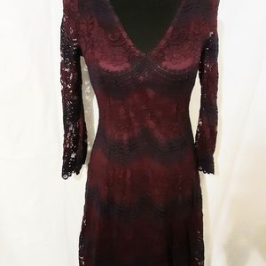Cato Lace Dress Burgundy Navy Size M